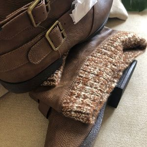 8.5 Brown Boots with Sock Top